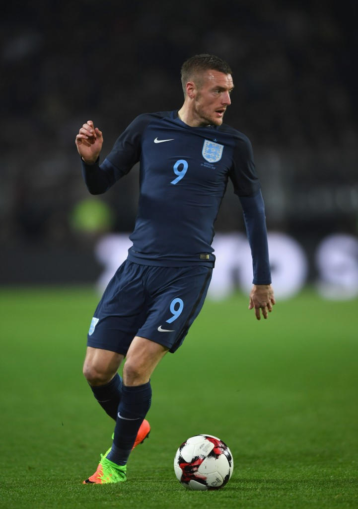 DORTMUND, GERMANY - MARCH 22: Jamie Vardy of England in action during the international friendly match between Germany and England at Signal Iduna Park on March 22, 2017 in Dortmund, Germany. (Photo by Shaun Botterill/Getty Images)