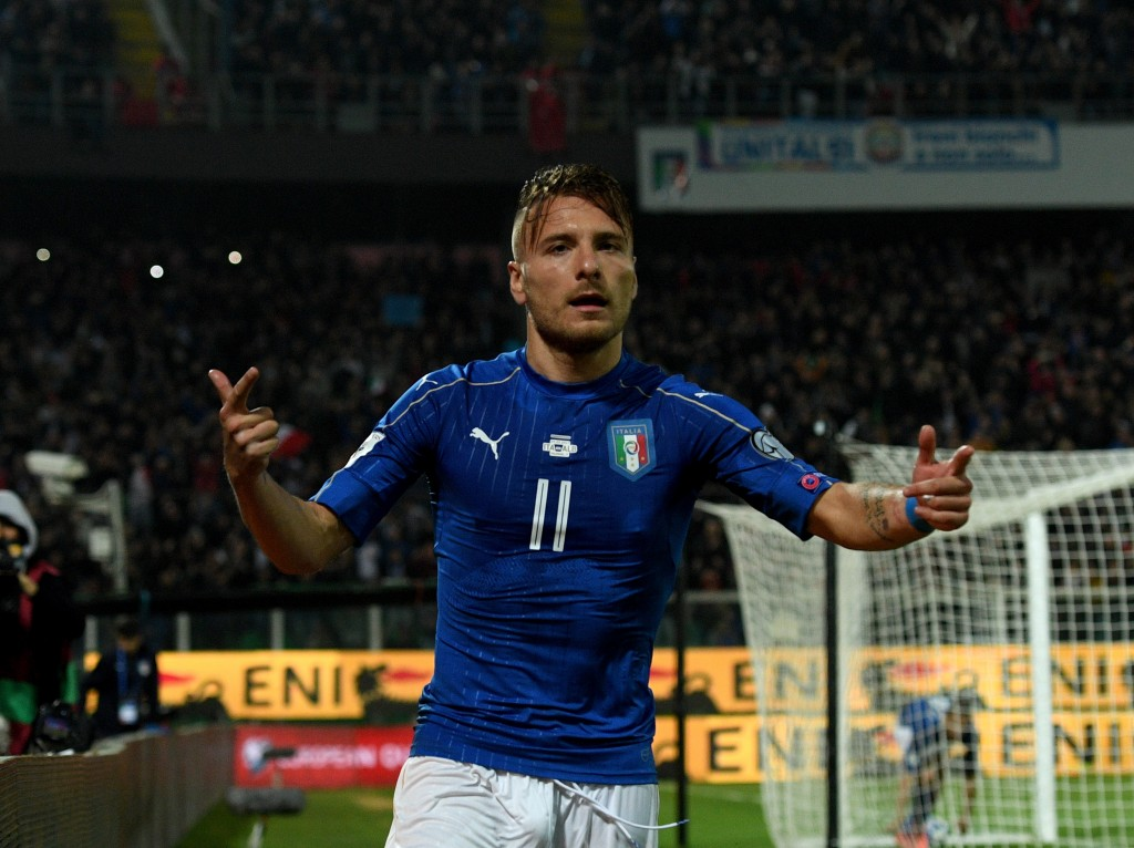 PALERMO, ITALY - MARCH 24: Ciro Immobile of Italy celebrates after scoring the second goal during the FIFA 2018 World Cup Qualifier between Italy and Albania at Stadio Renzo Barbera on March 24, 2017 in Palermo, Italy. (Photo by Claudio Villa/Getty Images)