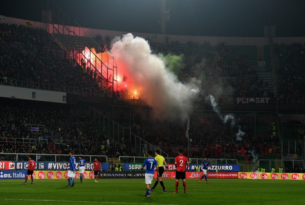PALERMO, ITALY - MARCH 24: Albania's supporters throw smoke bombs and flares during the FIFA 2018 World Cup Qualifier between Italy and Albania at Stadio Renzo Barbera on March 24, 2017 in Palermo, . (Photo by Claudio Villa/Getty Images)