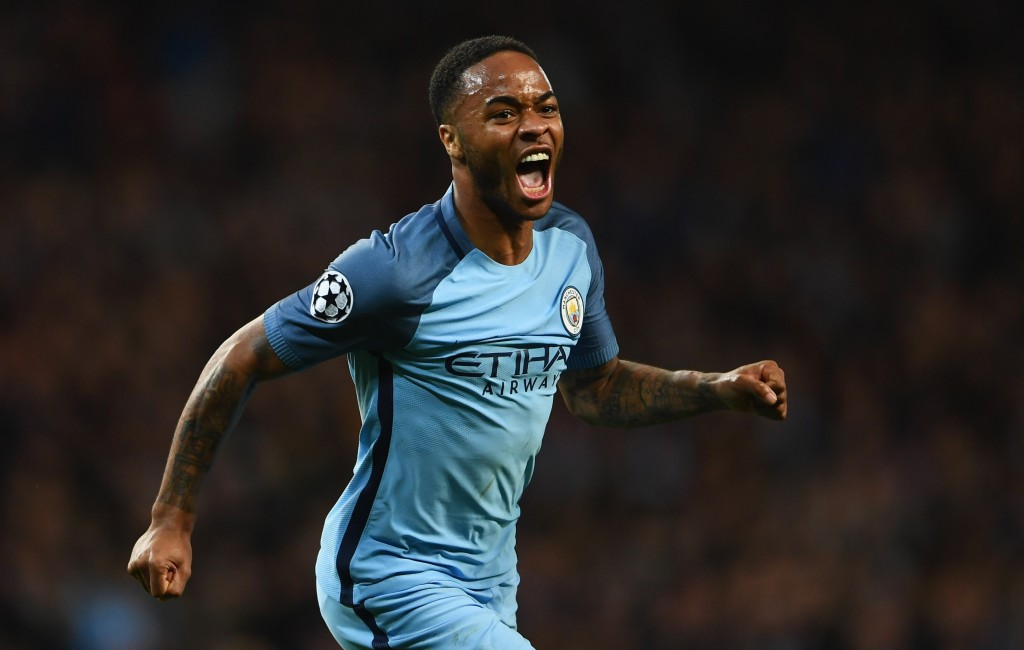 MANCHESTER, ENGLAND - FEBRUARY 21: Raheem Sterling of Manchester City celebrates as he scores their first goal during the UEFA Champions League Round of 16 first leg match between Manchester City FC and AS Monaco at Etihad Stadium on February 21, 2017 in Manchester, United Kingdom. (Photo by Laurence Griffiths/Getty Images)