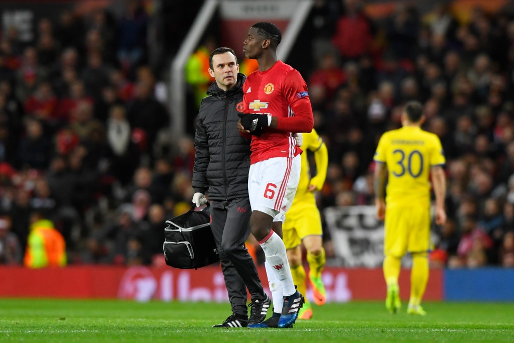 MANCHESTER, ENGLAND - MARCH 16: Paul Pogba of Manchester United leaves the pitch due to injury during the UEFA Europa League Round of 16, second leg match between Manchester United and FK Rostov at Old Trafford on March 16, 2017 in Manchester, United Kingdom. (Photo by Stu Forster/Getty Images)
