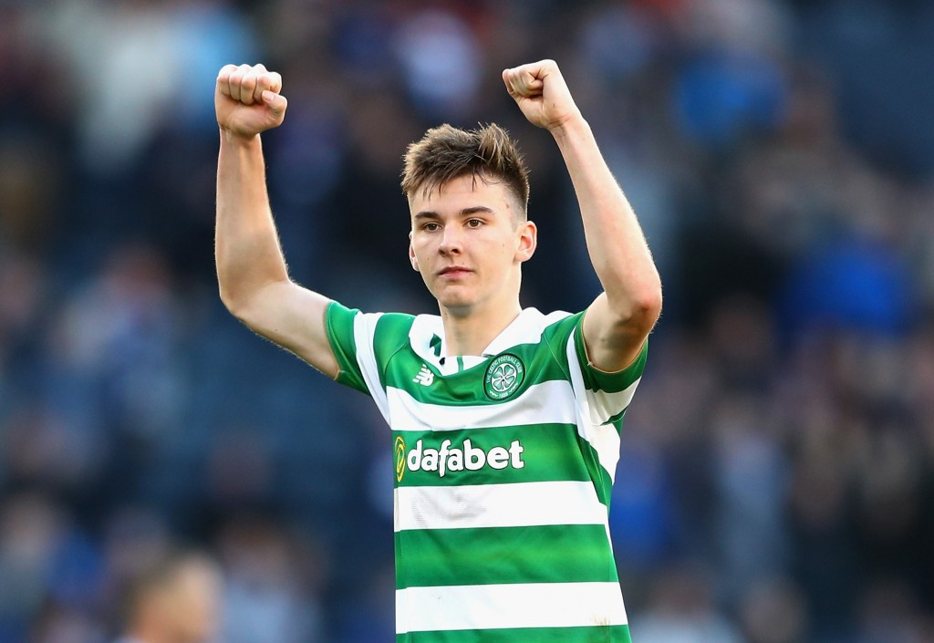 GLASGOW, SCOTLAND - OCTOBER 23: Kieran Tierney of Celtic celebrates victory during the Betfred Cup Semi Final match between Rangers and Celtic at Hampden Park on October 23, 2016 in Glasgow, Scotland. (Photo by Michael Steele/Getty Images)