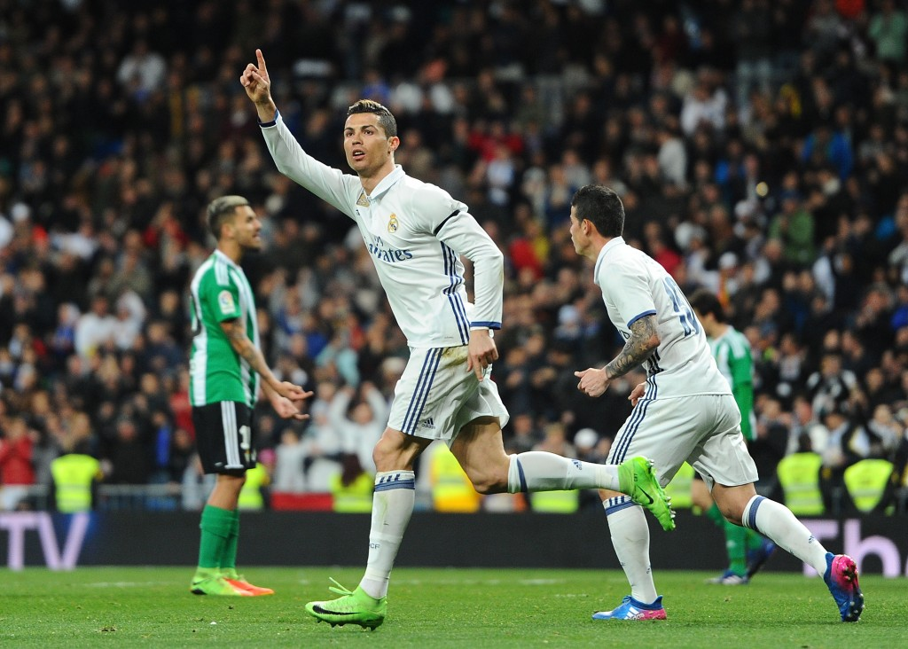MADRID, SPAIN - MARCH 12: Cristiano Ronaldo of Real Madrid celebrates after scoring Real's opening goal during the La Liga match between Real Madrid CF and Real Betis Balompie at Estadio Santiago Bernabeu on March 12, 2017 in Madrid, Spain. (Photo by Denis Doyle/Getty Images)