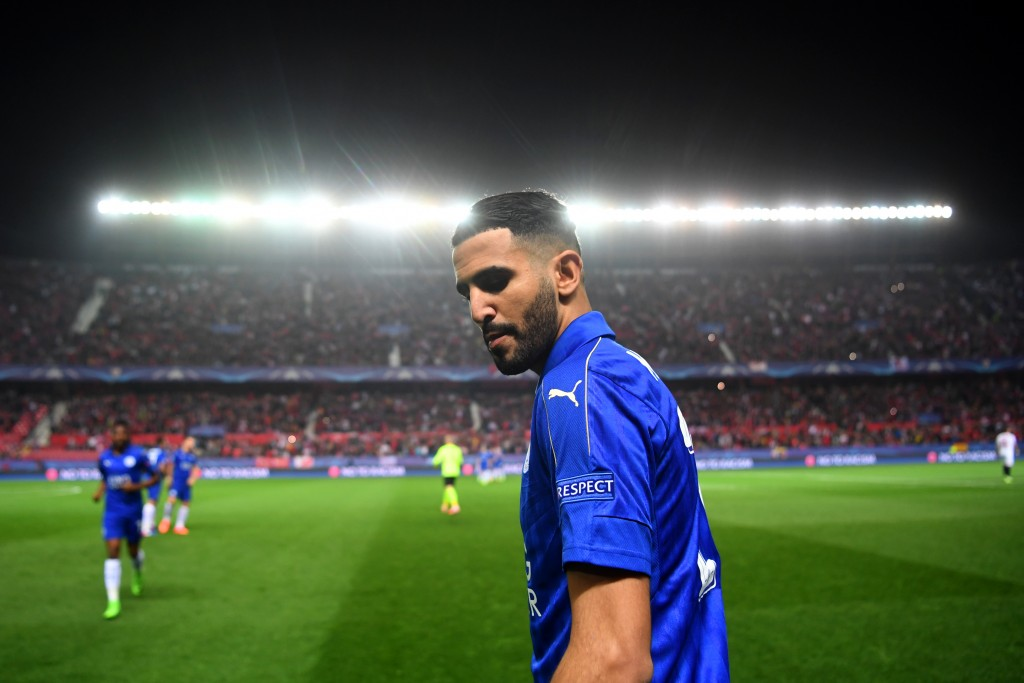 SEVILLE, ENGLAND - FEBRUARY 22: Riyad Mahrez of Leicester City looks on before the UEFA Champions League Round of 16 first leg match between Sevilla FC and Leicester City at Estadio Ramon Sanchez Pizjuan on February 22, 2017 in Seville, Spain. (Photo by Michael Regan/Getty Images)