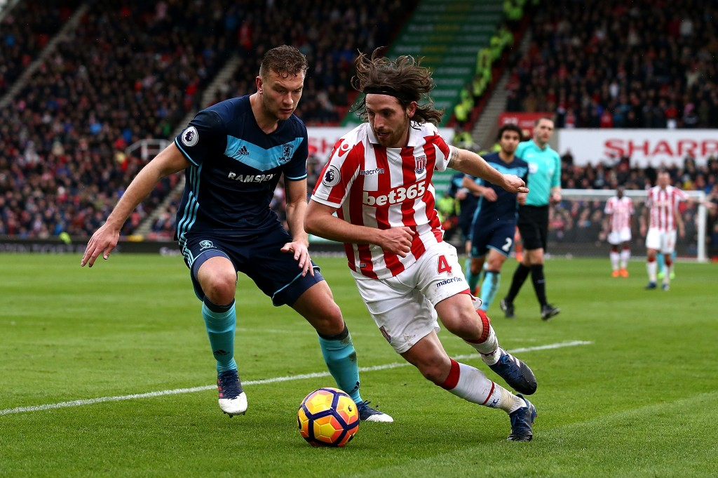 STOKE ON TRENT, ENGLAND - MARCH 04: Joe Allen of Stoke City battles with Ben Gibson of Middlesbrough during the Premier League match between Stoke City and Middlesbrough at Bet365 Stadium on March 4, 2017 in Stoke on Trent, England. (Photo by Jan Kruger/Getty Images)