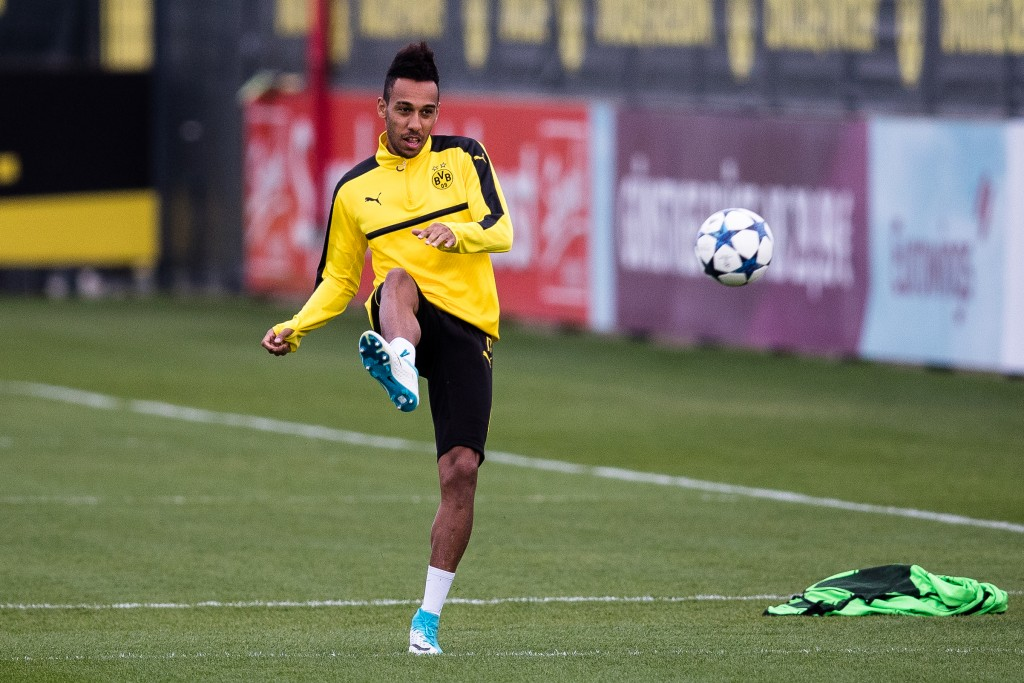 DORTMUND, GERMANY - APRIL 10: Pierre-Emerick Aubameyang of Dortmund kicks the ball during a training prior the UEFA Champions League Quarter Final First Leg match between Borussia Dortmund and AS Monaco on April 10, 2017 in Dortmund, Germany. (Photo by Maja Hitij/Bongarts/Getty Images)