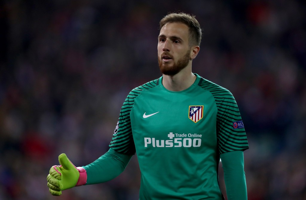 MADRID, SPAIN - MARCH 15: Goalkeeper Jan Oblak of Atletico is seen during the UEFA Champions League Round of 16 second leg match between Club Atletico de Madrid and Bayer Leverkusen at Vicente Calderon Stadium on March 15, 2017 in Madrid, Spain. (Photo by Lars Baron/Bongarts/Getty Images)