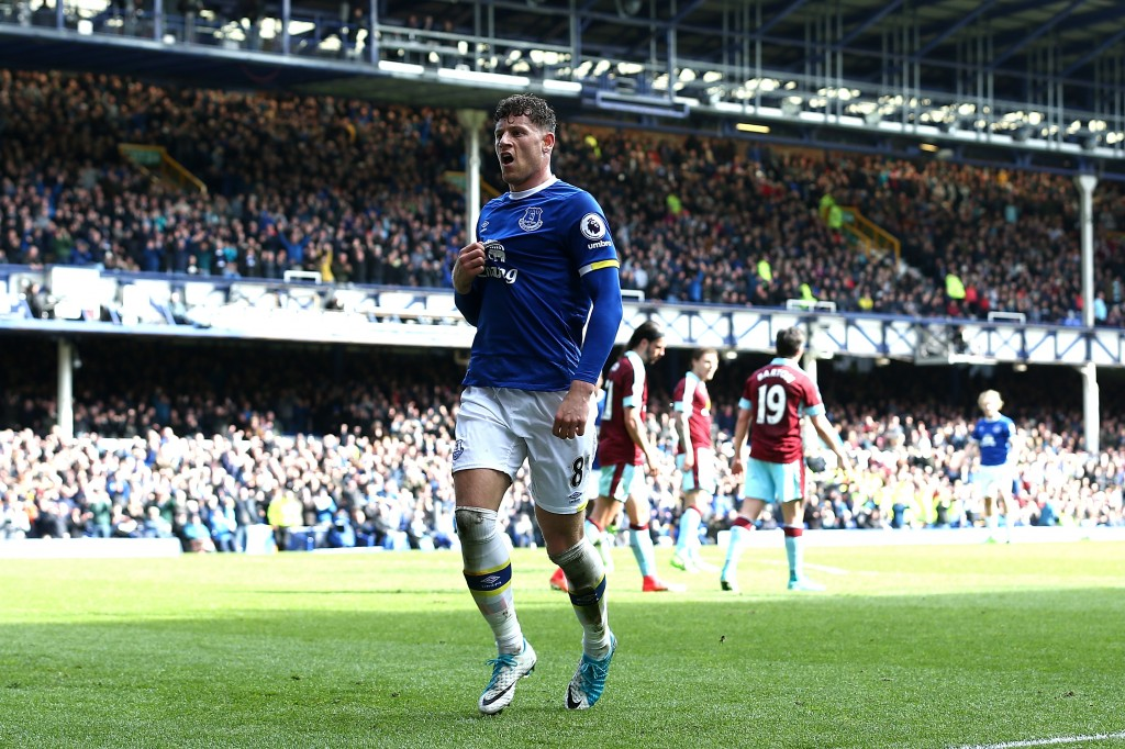 LIVERPOOL, ENGLAND - APRIL 15: Ross Barkley of Everton celebrates as Ben Mee of Burnley (not pictured) scored a own goal for Everton's second during the Premier League match between Everton and Burnley at Goodison Park on April 15, 2017 in Liverpool, England. (Photo by Jan Kruger/Getty Images)