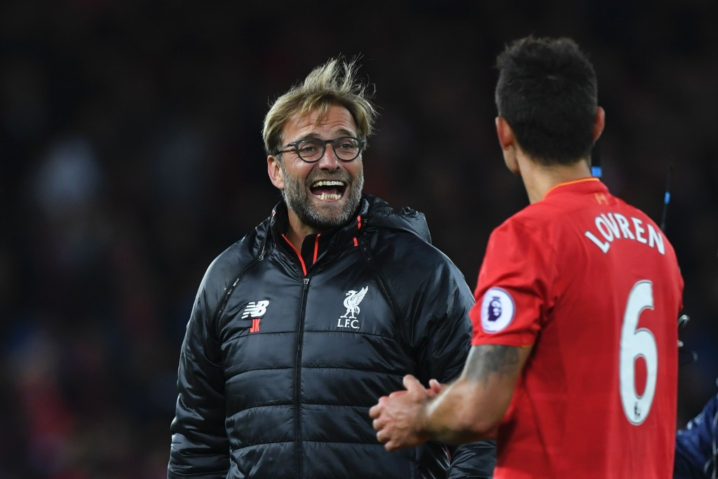 Liverpool's German manager Jurgen Klopp (L) talks with Liverpool's Croatian defender Dejan Lovren (R) after the English Premier League football match between Liverpool and West Bromwich Albion at Anfield in Liverpool, north west England on October 22, 2016. / AFP / PAUL ELLIS / RESTRICTED TO EDITORIAL USE. No use with unauthorized audio, video, data, fixture lists, club/league logos or 'live' services. Online in-match use limited to 75 images, no video emulation. No use in betting, games or single club/league/player publications. / (Photo credit should read PAUL ELLIS/AFP/Getty Images)
