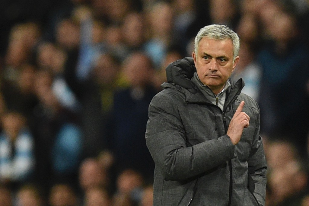 Manchester United's Portuguese manager Jose Mourinho gestures on the touchline during the English Premier League football match between Manchester City and Manchester United at the Etihad Stadium in Manchester,north west England, on April 27, 2017. / AFP PHOTO / Oli SCARFF / RESTRICTED TO EDITORIAL USE. No use with unauthorized audio, video, data, fixture lists, club/league logos or 'live' services. Online in-match use limited to 75 images, no video emulation. No use in betting, games or single club/league/player publications. / (Photo credit should read OLI SCARFF/AFP/Getty Images)