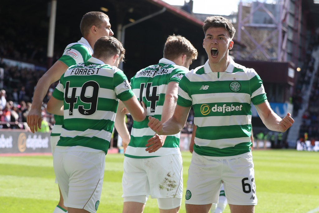 EDINBURGH, SCOTLAND - APRIL 02: Kieran Tierney of Celtic celebrates after Stuart Armstrong of Celtic scores his team's third goal during the Ladbrokes Premiership match between Hearts and Celtic at Tynecastle Stadium on April 2, 2017 in Edinburgh, Scotland. (Photo by Ian MacNicol/Getty Images)