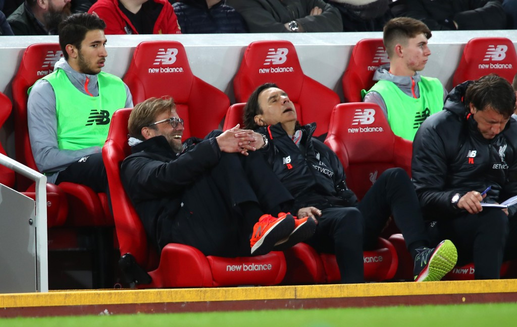 LIVERPOOL, ENGLAND - APRIL 05: Jurgen Klopp, Manager of Liverpool reacts during the Premier League match between Liverpool and AFC Bournemouth at Anfield on April 5, 2017 in Liverpool, England. (Photo by Clive Brunskill/Getty Images)