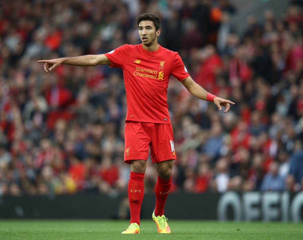 LIVERPOOL, ENGLAND - SEPTEMBER 24: Marko Grujic of Liverpool signals during the Premier League match between Liverpool and Hull City at Anfield on September 24, 2016 in Liverpool, England. (Photo by Julian Finney/Getty Images)