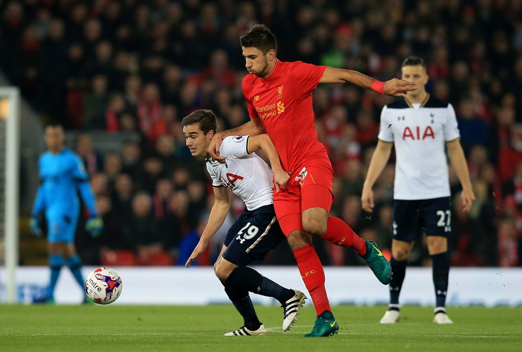LIVERPOOL, ENGLAND - OCTOBER 25: Harry Winks of Tottenham battles with Marko Grujic of Liverpool during the EFL Cup fourth round match between Liverpool and Tottenham Hotspur at Anfield on October 25, 2016 in Liverpool, England. (Photo by Jan Kruger/Getty Images)