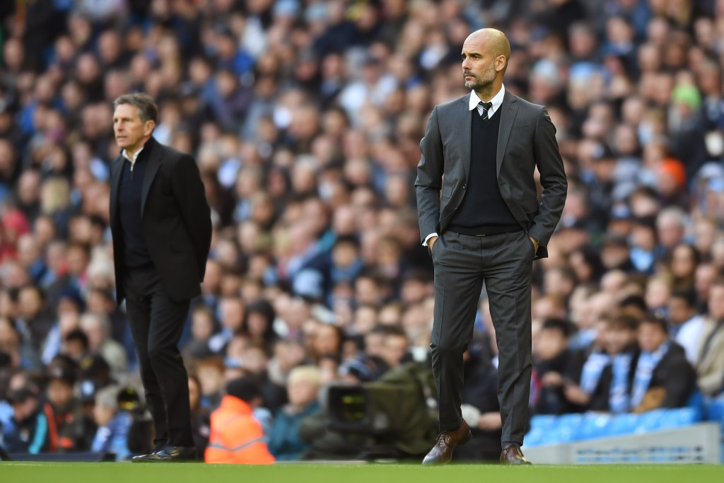 Who will prevail in the battle between Pep Guardiola and Claude Puel on Saturday? (Photo courtesy - Michael Regan/Getty Images)