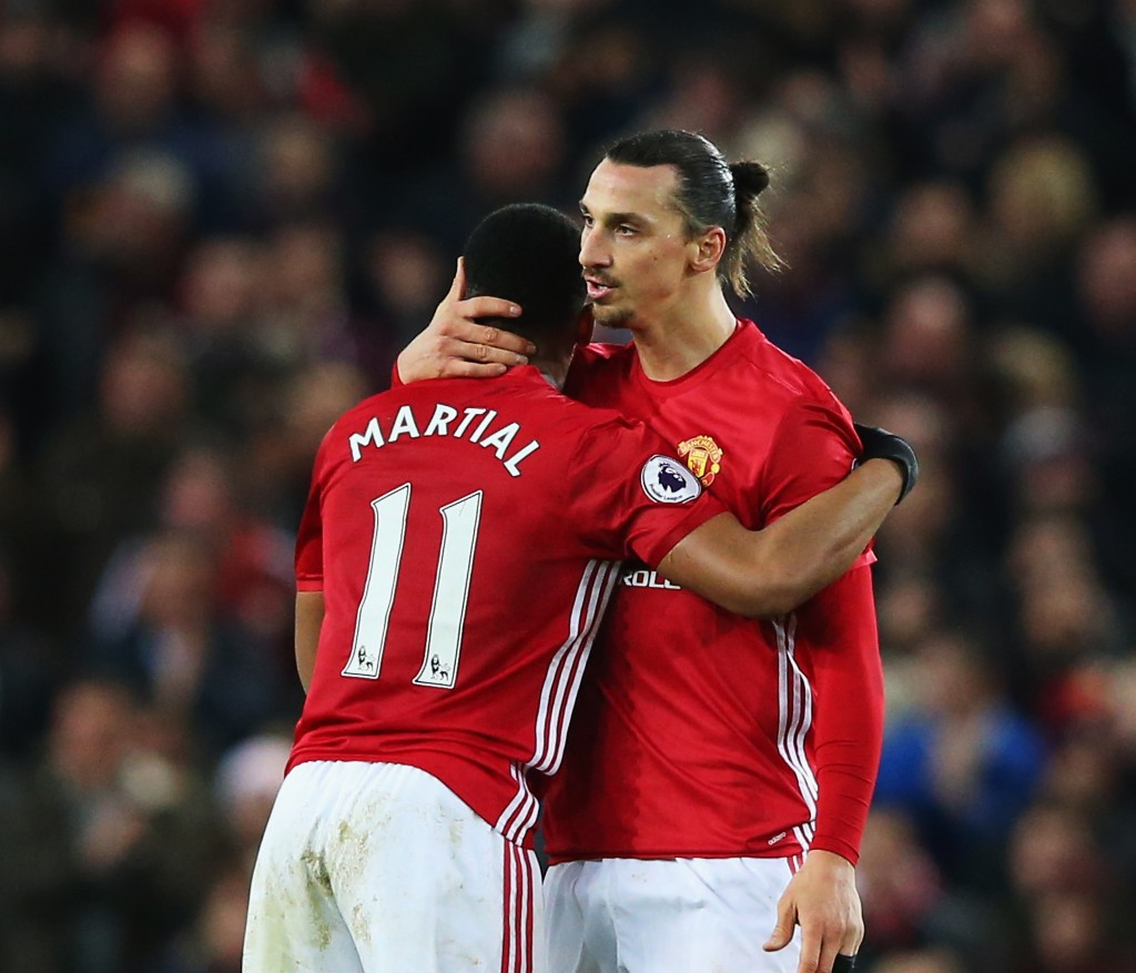 MANCHESTER, ENGLAND - DECEMBER 31: Anthony Martial of Manchester United celebrates after he scores a goal with team mate Zlatan Ibrahimovic during the Premier League match between Manchester United and Middlesbrough at Old Trafford on December 31, 2016 in Manchester, England. (Photo by Alex Livesey/Getty Images)