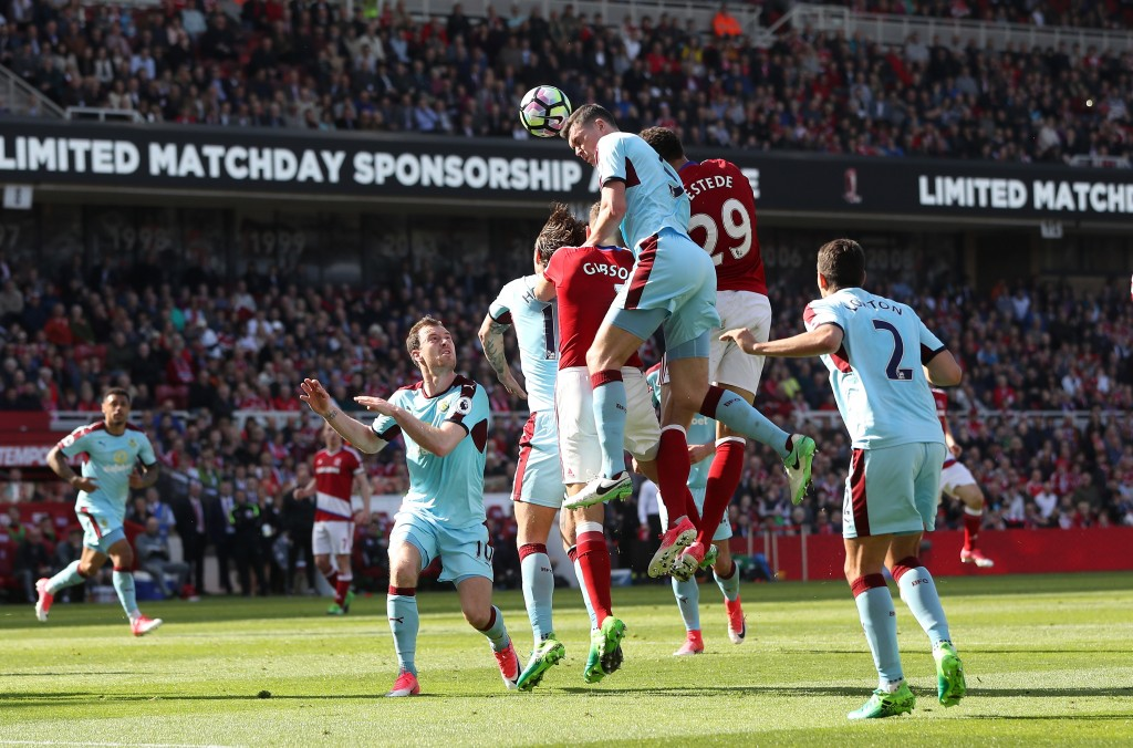 MIDDLESBROUGH, ENGLAND - APRIL 08: Michael Keane of Burnley heads towards goal during the Premier League match between Middlesbrough and Burnley at Riverside Stadium on April 8, 2017 in Middlesbrough, England. (Photo by Ian MacNicol/Getty Images)