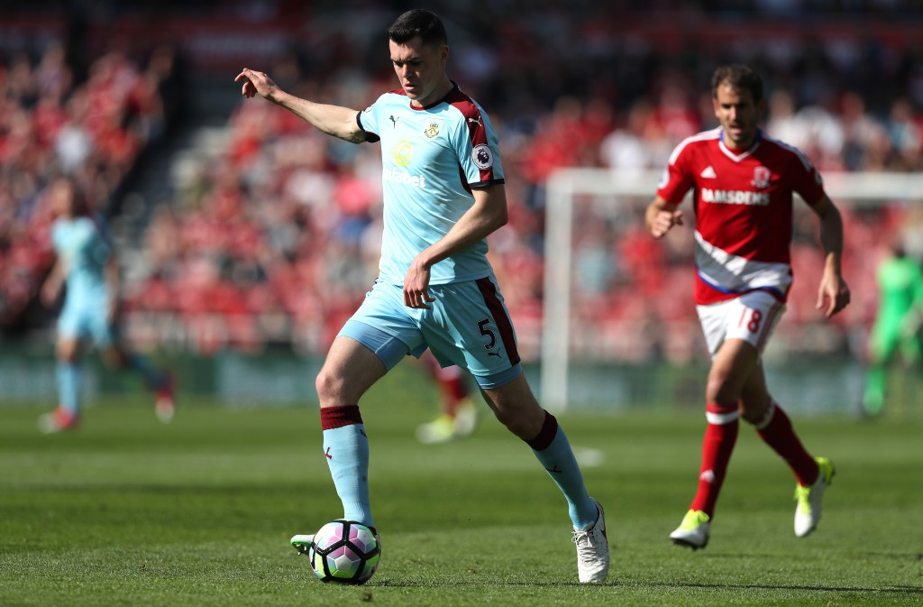 MIDDLESBROUGH, ENGLAND - APRIL 08: Michael Keane of Burnley in action during the Premier League match between Middlesbrough and Burnley at Riverside Stadium on April 8, 2017 in Middlesbrough, England. (Photo by Ian MacNicol/Getty Images)