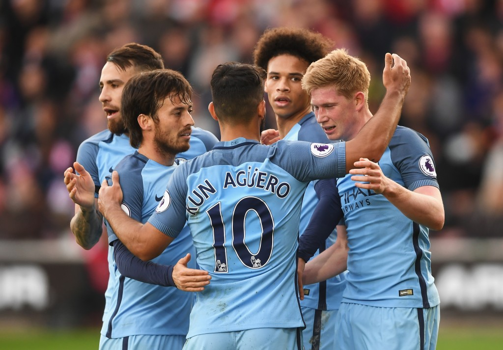 Leroy Sane worked brilliantly well with Aguero and Sterling to set up a goal, which was disallowed. (Photo by Mike Hewitt/Getty Images)