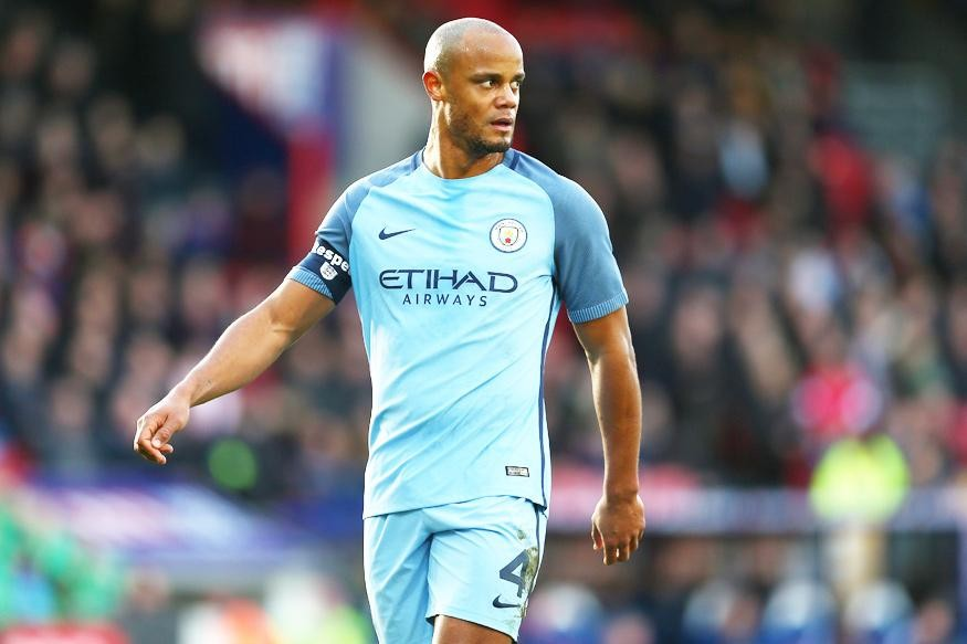 Vincent Kompany takes a moment out of the fast-paced second half against Southampton. (Courtesy: Getty)