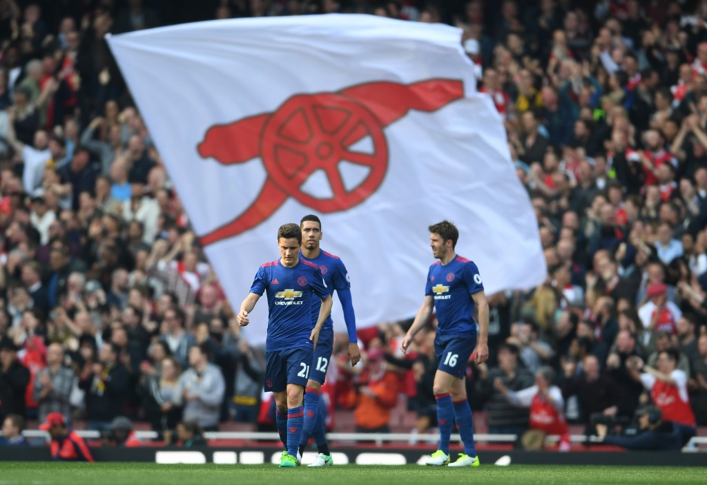 LONDON, ENGLAND - MAY 07: Ander Herrera of Manchester United looks dejected after Arsenal score during the Premier League match between Arsenal and Manchester United at the Emirates Stadium on May 7, 2017 in London, England. (Photo by Laurence Griffiths/Getty Images)