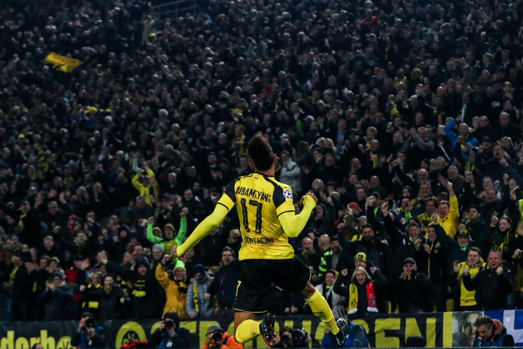 DORTMUND, GERMANY - MARCH 08: Pierre-Emerick Aubameyang of Dortmund celebrates after scoring a goal to make it 1-0 during the UEFA Champions League Round of 16 second leg match between Borussia Dortmund and SL Benfica at Signal Iduna Park on March 8, 2017 in Dortmund, Germany. (Photo by Maja Hitij/Bongarts/Getty Images)