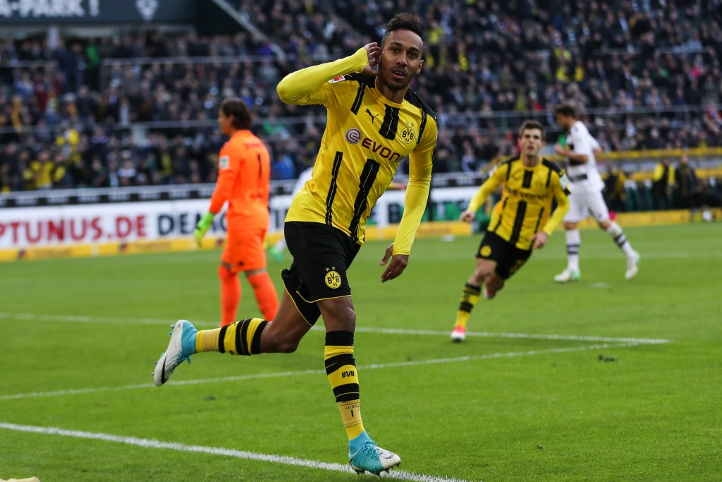 MOENCHENGLADBACH, GERMANY - APRIL 22: Pierre-Emerick Aubameyang of Dortmund celebrates after scoring a goal to make it 2-2 during the Bundesliga match between Borussia Moenchengladbach and Borussia Dortmund at Borussia-Park on April 22, 2017 in Moenchengladbach, Germany. (Photo by Maja Hitij/Bongarts/Getty Images)