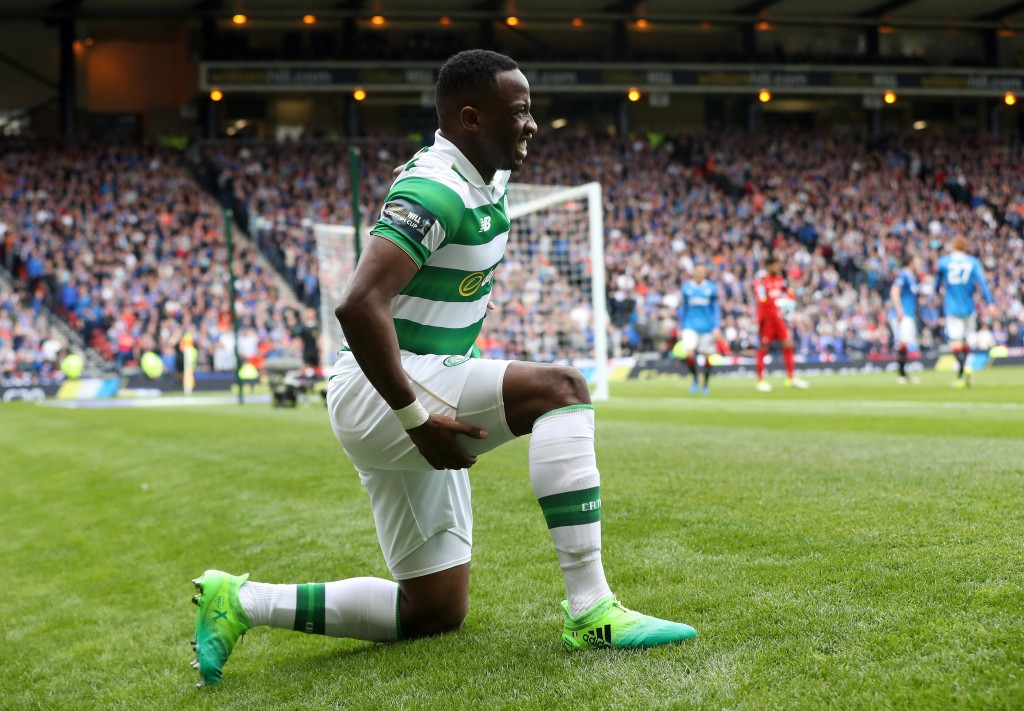 GLASGOW, SCOTLAND - APRIL 23: Moussa Dembele of Celtic reacts after his injury during the Scottish Cup Semi-Final match between Celtic and Rangers at Hampden Park on April 23, 2017 in Glasgow, Scotland. (Photo by Ian MacNicol/Getty Images)