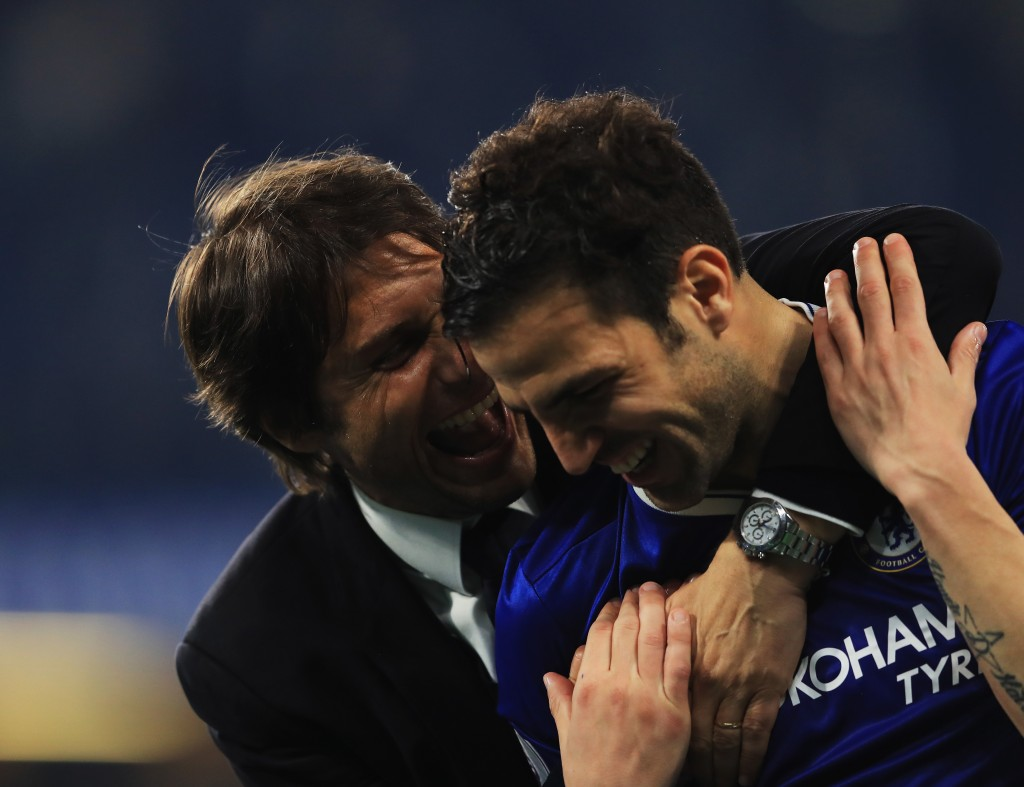 LONDON, ENGLAND - MAY 15: Antonio Conte, Manager of Chelsea speaks to Cesc Fabregas of Chelsea after the Premier League match between Chelsea and Watford at Stamford Bridge on May 15, 2017 in London, England. (Photo by Richard Heathcote/Getty Images)