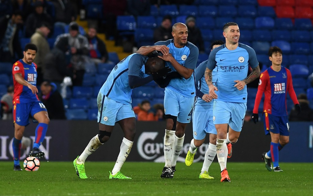 LONDON, ENGLAND - JANUARY 28: Yaya Toure (L) of Manchester City celebrates scoring his side's third goal with his team mates during the Emirates FA Cup Fourth Round match between Crystal Palace and Manchester City at Selhurst Park on January 28, 2017 in London, England. (Photo by Mike Hewitt/Getty Images)