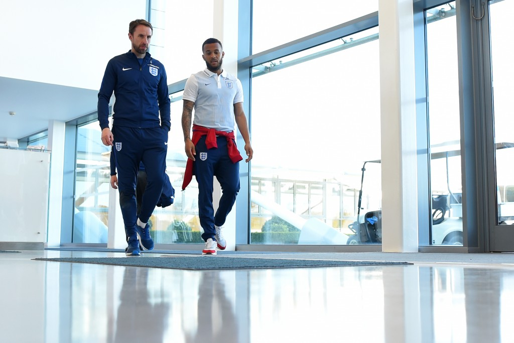ENFIELD, ENGLAND - MARCH 25: (L-R) Gareth Southgate the England manager and Ryan Bertrand make their way to the England press conference at the Tottenham Hotspur Training Centre on March 25, 2017 in Enfield, England. (Photo by Mike Hewitt/Getty Images)