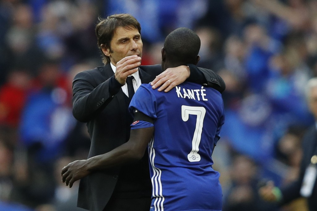 Will we see Antonio Conte manage Kante again? (Photo by Adrian Dennis/AFP/Getty Images)