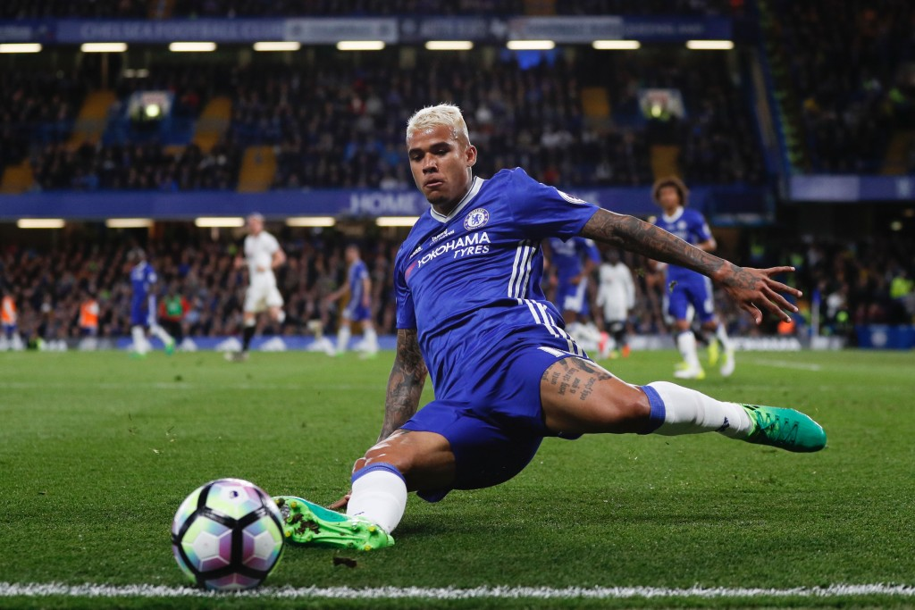 Chelsea's Brazilian striker Kenedy tries but fails to keep a ball in play during the English Premier League football match between Chelsea and Watford at Stamford Bridge in London on May 15, 2017. / AFP PHOTO / Adrian DENNIS / RESTRICTED TO EDITORIAL USE. No use with unauthorized audio, video, data, fixture lists, club/league logos or 'live' services. Online in-match use limited to 75 images, no video emulation. No use in betting, games or single club/league/player publications. / (Photo credit should read ADRIAN DENNIS/AFP/Getty Images)