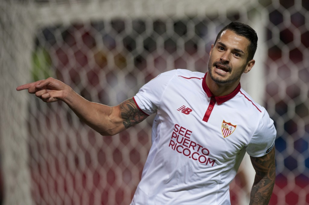 Sevilla's midfielder Vitolo celebrates after scoring during the Spanish league football match Sevilla FC vs FC Barcelona at the Ramon Sanchez Pizjuan stadium in Sevilla on November 6, 2016. / AFP / JORGE GUERRERO (Photo credit should read JORGE GUERRERO/AFP/Getty Images)