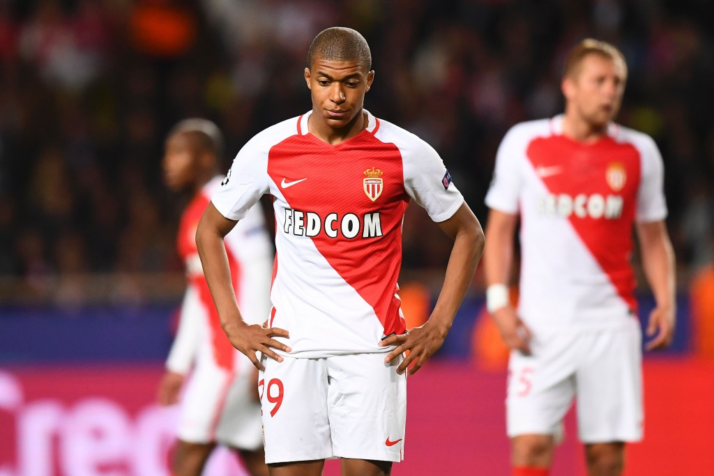 Monaco's French forward Kylian Mbappe reacts during the UEFA Champions League semi-final first leg football match Monaco vs Juventus at the Stade Louis II stadium in Monaco on May 3, 2017. / AFP PHOTO / FRANCK FIFE (Photo credit should read FRANCK FIFE/AFP/Getty Images)