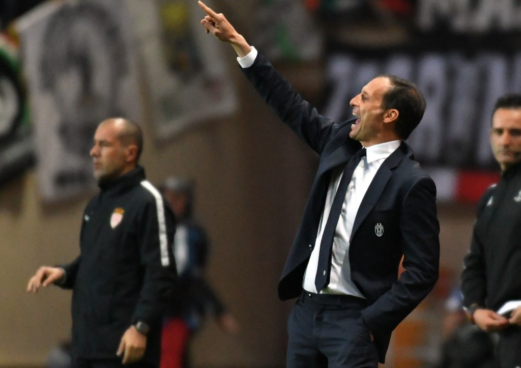 Juventus' coach from Italy Massimiliano Allegri (C) gestures during the UEFA Champions League semi-final first leg football match between Monaco and Juventus at the Stade Louis II stadium in Monaco on May 3, 2017. / AFP PHOTO / PASCAL GUYOT (Photo credit should read PASCAL GUYOT/AFP/Getty Images)