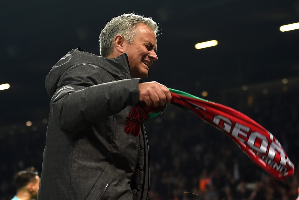 Manchester United's Portuguese manager Jose Mourinho celebrates after the UEFA Europa League semi-final, second-leg football match between Manchester United and Celta Vigo at Old Trafford stadium in Manchester, north-west England, on May 11, 2017. Manchester United won through to the final after the game ended 1-1, United winning 2-1 on aggregate. / AFP PHOTO / PAUL ELLIS (Photo credit should read PAUL ELLIS/AFP/Getty Images)