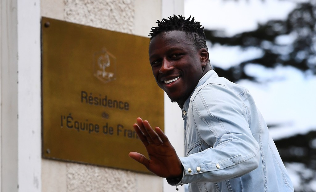 France's defender Benjamin Mendy arrives at the French national football team training base in Clairefontaine near Paris, on March 20, 2017, as part of the team's preparation for the upcoming World Cup 2018 qualifiers. / AFP PHOTO / FRANCK FIFE (Photo credit should read FRANCK FIFE/AFP/Getty Images)