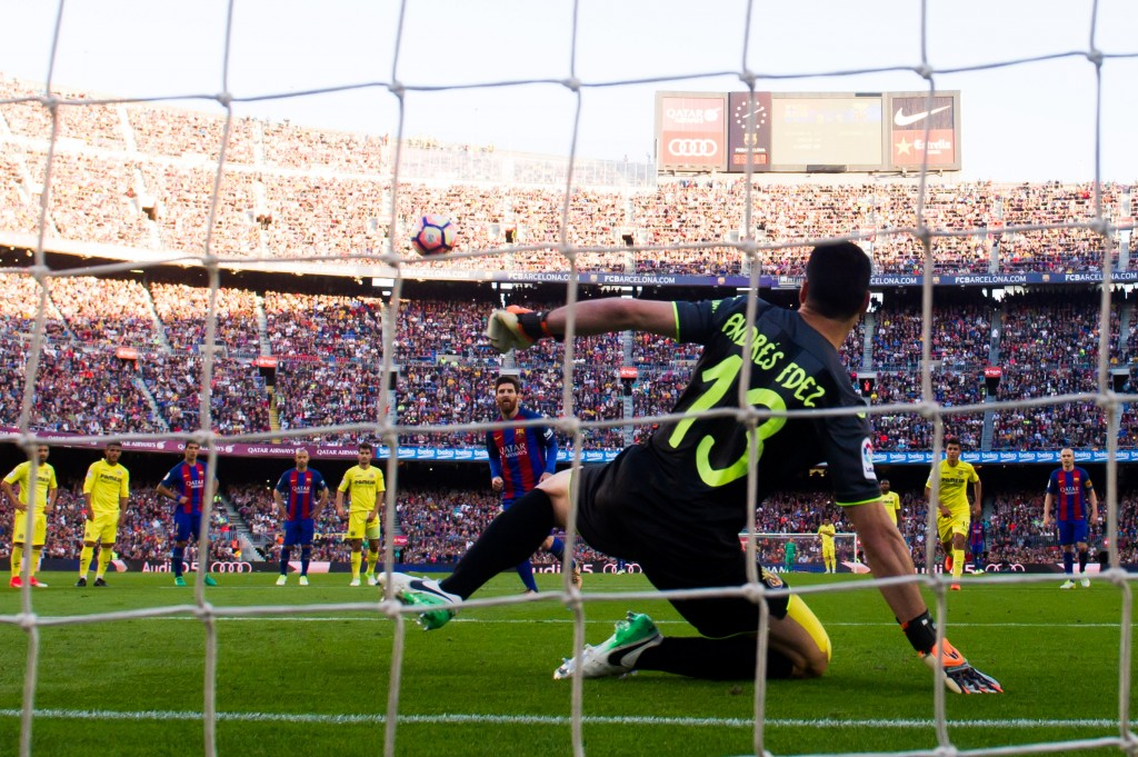 BARCELONA, SPAIN - MAY 06: Lionel Messi of FC Barcelona kicks a penalty to score his team's fourth goal during the La Liga match between FC Barcelona and Villarreal CF at Camp Nou stadium on May 6, 2017 in Barcelona, Spain. (Photo by Alex Caparros/Getty Images)