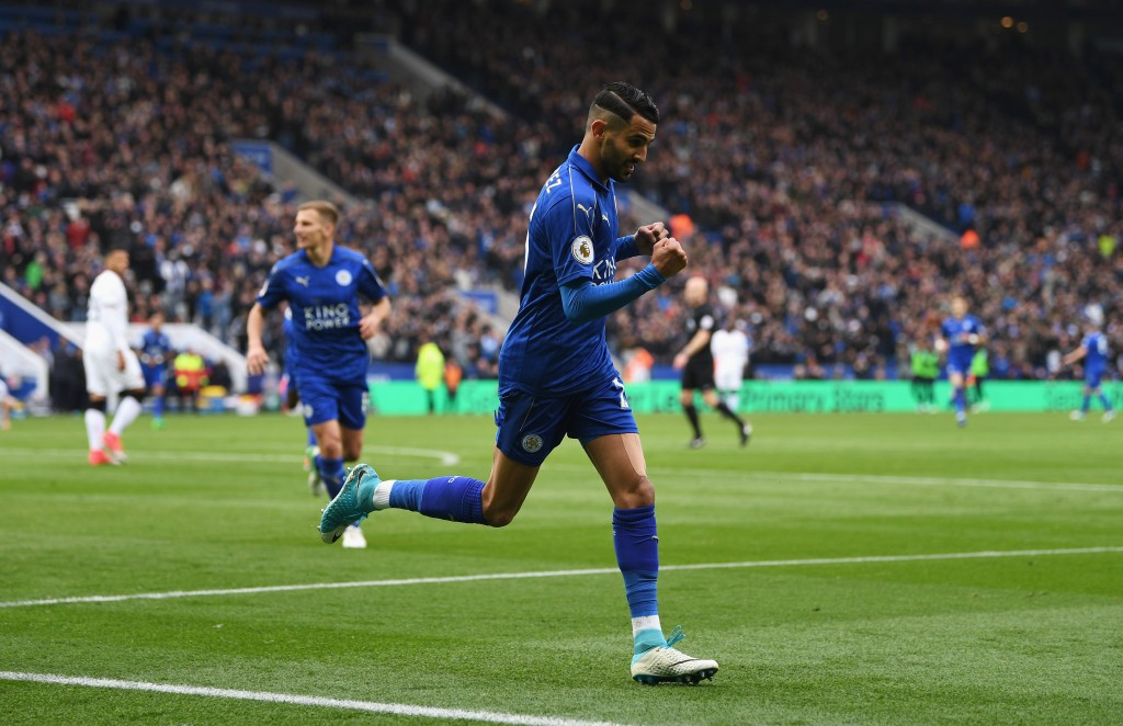 LEICESTER, ENGLAND - MAY 06: Riyad Mahrez of Leicester City celebrates scoring his sides second goal during the Premier League match between Leicester City and Watford at The King Power Stadium on May 6, 2017 in Leicester, England. (Photo by Michael Regan/Getty Images)