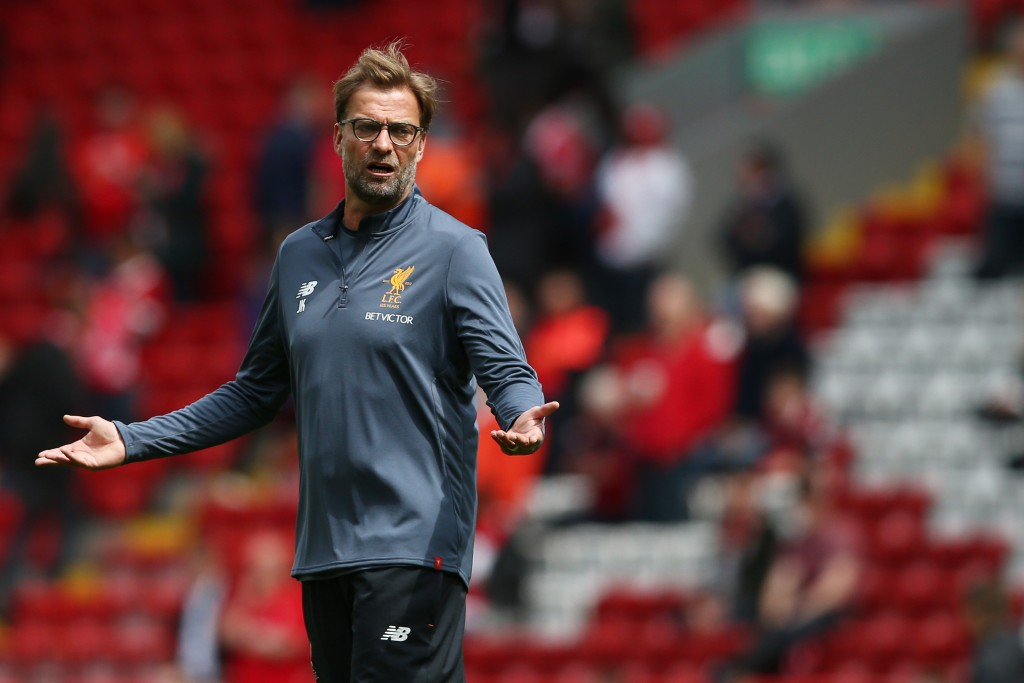 LIVERPOOL, ENGLAND - MAY 21: Jurgen Klopp, Manager of Liverpool looks on as his team warm up prior to the Premier League match between Liverpool and Middlesbrough at Anfield on May 21, 2017 in Liverpool, England. (Photo by Jan Kruger/Getty Images)