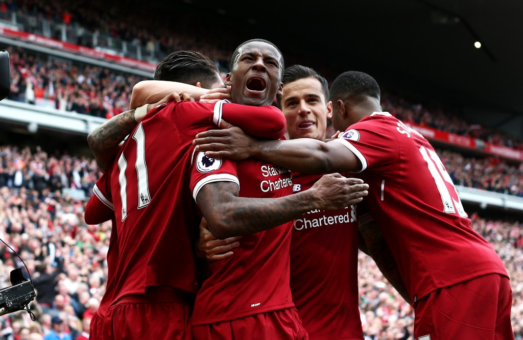 LIVERPOOL, ENGLAND - MAY 21: Georginio Wijnaldum of Liverpool celebrates scoring his sides first goal during the Premier League match between Liverpool and Middlesbrough at Anfield on May 21, 2017 in Liverpool, England. (Photo by Jan Kruger/Getty Images)