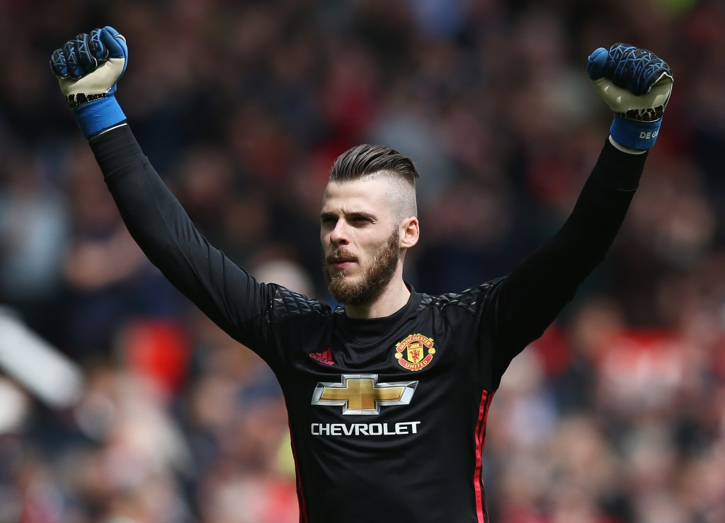 MANCHESTER, ENGLAND - APRIL 30: David De Gea of Manchester United celebrates his sides first goal during the Premier League match between Manchester United and Swansea City at Old Trafford on April 30, 2017 in Manchester, England. (Photo by Jan Kruger/Getty Images)