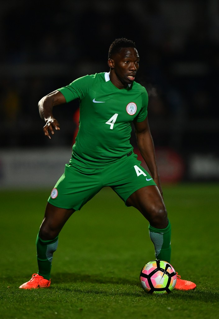 BARNET, ENGLAND - MARCH 23: Kenneth Omeruo of Nigeria looks for a pass during the International Friendly match between Nigeria and Senegal at The Hive on March 23, 2017 in Barnet, England. (Photo by Dan Mullan/Getty Images)