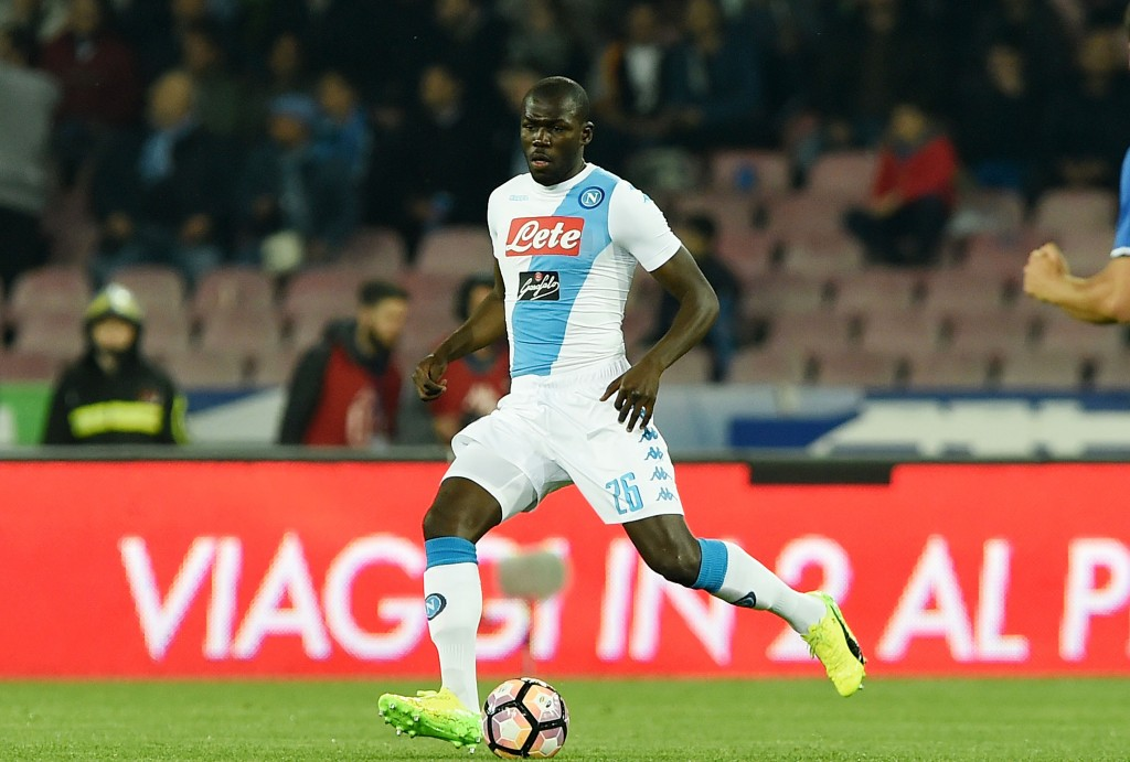NAPLES, ITALY - APRIL 05: Kalidou Koulibaly of SSC Napoli in action during the TIM Cup match between SSC Napoli and Juventus FC at Stadio San Paolo on April 5, 2017 in Naples, Italy. (Photo by Francesco Pecoraro/Getty Images)