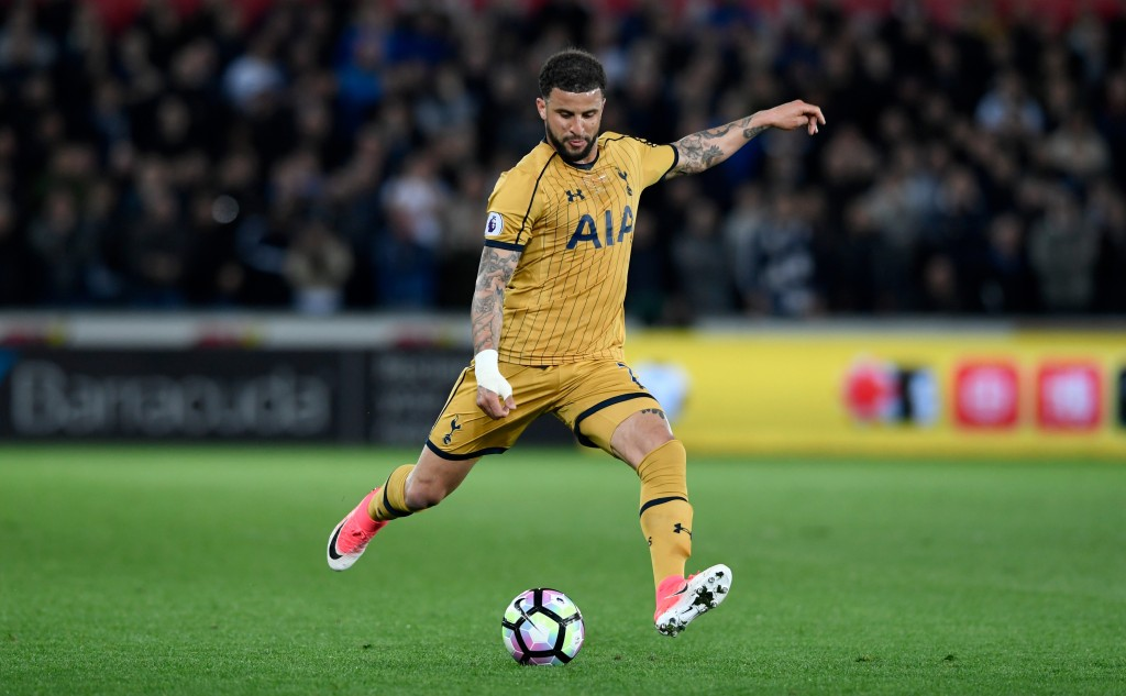 SWANSEA, WALES - APRIL 05: Spurs full back Kyle Walker in action during the Premier League match between Swansea City and Tottenham Hotspur at Liberty Stadium on April 5, 2017 in Swansea, Wales. (Photo by Stu Forster/Getty Images)