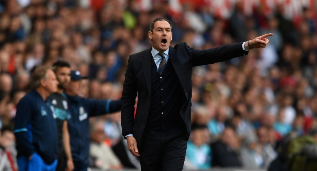 SWANSEA, WALES - MAY 21: Swansea head coach Paul Clement reacts during the Premier League match between Swansea City and West Bromwich Albion at Liberty Stadium on May 21, 2017 in Swansea, Wales. (Photo by Stu Forster/Getty Images)