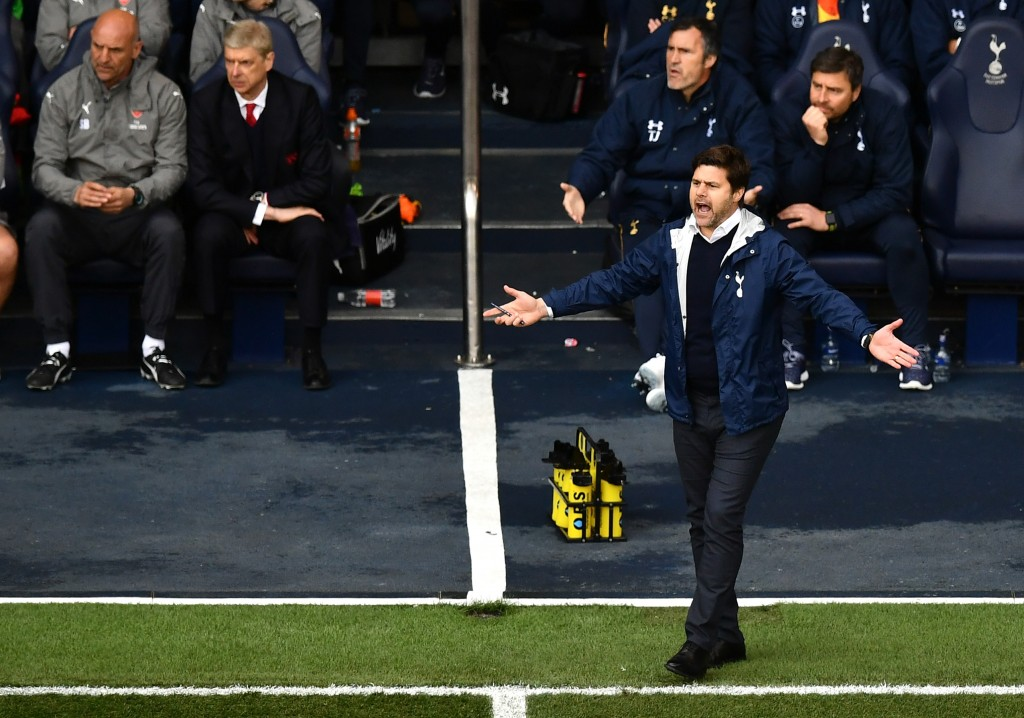 LONDON, ENGLAND - APRIL 30: Mauricio Pochettino, Manager of Tottenham Hotspur reacts during the Premier League match between Tottenham Hotspur and Arsenal at White Hart Lane on April 30, 2017 in London, England. (Photo by Dan Mullan/Getty Images)
