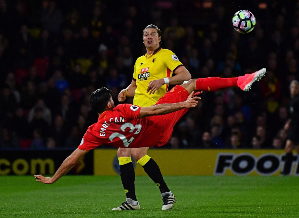 WATFORD, ENGLAND - MAY 01: Emre Can of Liverpool scores the opening goal during the Premier League match between Watford and Liverpool at Vicarage Road on May 1, 2017 in Watford, England. (Photo by Dan Mullan/Getty Images)
