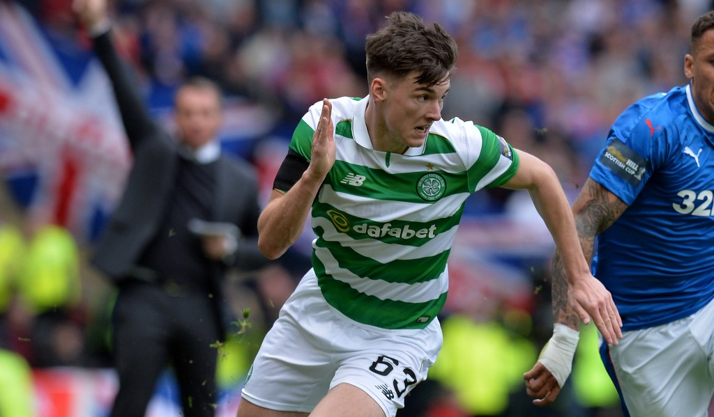 GLASGOW, SCOTLAND - APRIL 23: Kieran Tierney of Celtic and James Tavernier of Rangers compete for the ball during the Scottish Cup Semi-Final match between Celtic and Rangers at Hampden Park on April 23, 2017 in Glasgow, Scotland. (Photo by Mark Runnacles/Getty Images)